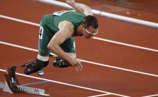 L'athlète sud-africain Oscar Pistorius, lors des Jeux paralympiques de Pékin, le 16 septembre 2008.