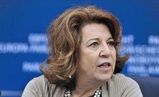 La députée européenne Corinne Lepage, le 15 janvier 2013, au Parlement européen, à Strasbourg.