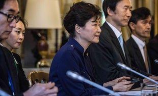Park Geun Hye, en visite diplomatique à Paris en 2016.