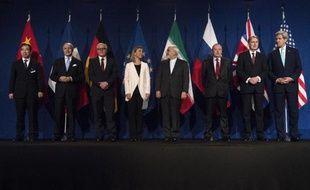 Les principaux protagonistes de l'accord-cadre sur le nucléaire iranien, le 2 avril 2015 à Lausanne