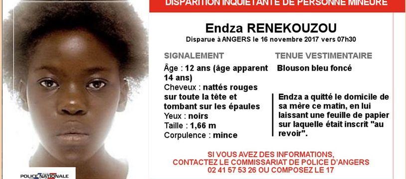 Endza Renekouzou a disparu ce jeudi matin à Angers.