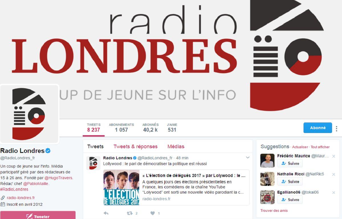 Capture d'écran du compte Twitter du site Radio Londres lancé le 6 mai 2012. – RadioLondres/Twitter