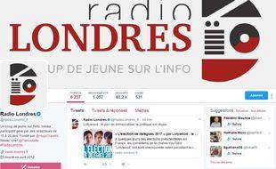 Capture d'écran du compte Twitter du site Radio Londres lancé le 6 mai 2012.