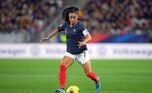 Sakina Karchaoui, ici avec les Bleues en novembre dernier à Bordeaux, lors d'un match de qualification pour l'Euro 2021 contre la Serbie.