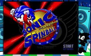 Une capture d'écran de la Megadrive Mini sur Sonic Spinball.