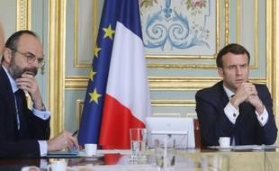 Emmanuel Macron et Edouard Philippe, le 19 mars 2020 à l'Elysée.
