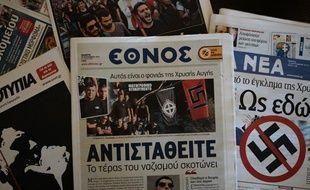 Tous les titres de la presse grecque traitaient ce jeudi du meurtre d'un musicien antifasciste par un militant du parti néo-nazi Aube doré.