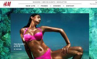 Capture d'écran du site de H&M présentant la campagne de publicité qui fait polémique, le 11 mai 2012.