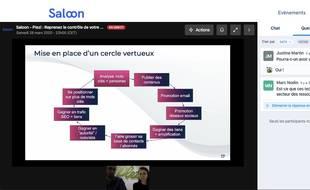 Saloon permet d'organiser des salons professionnels en ligne.