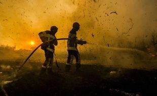 Intervention de pompiers sur un incendie de forêt. (Illustration).