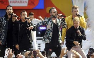 Les Backstreet Boys lors d'un concert à New York, le 13 juillet 2018.