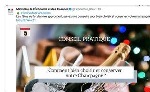 Dans un message depuis supprimé, Bercy proposait des conseils pour «bien choisir et conserver (son) champagne»