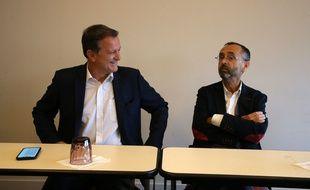 Louis Aliot et Robert Ménard, lors d'une conférence de presse commune le 11 juin