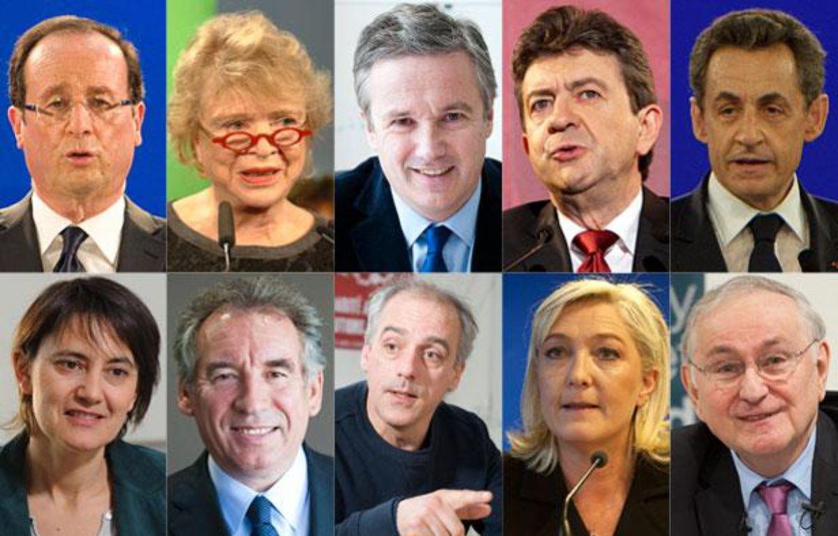 Les dix candidats pour l'élection présidentielle 2012. – 20 MINUTES