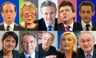 Les dix candidats pour l'élection présidentielle 2012.