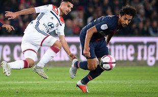 Aouar et Marquinhos au duel lors du dernier PSG-OL.