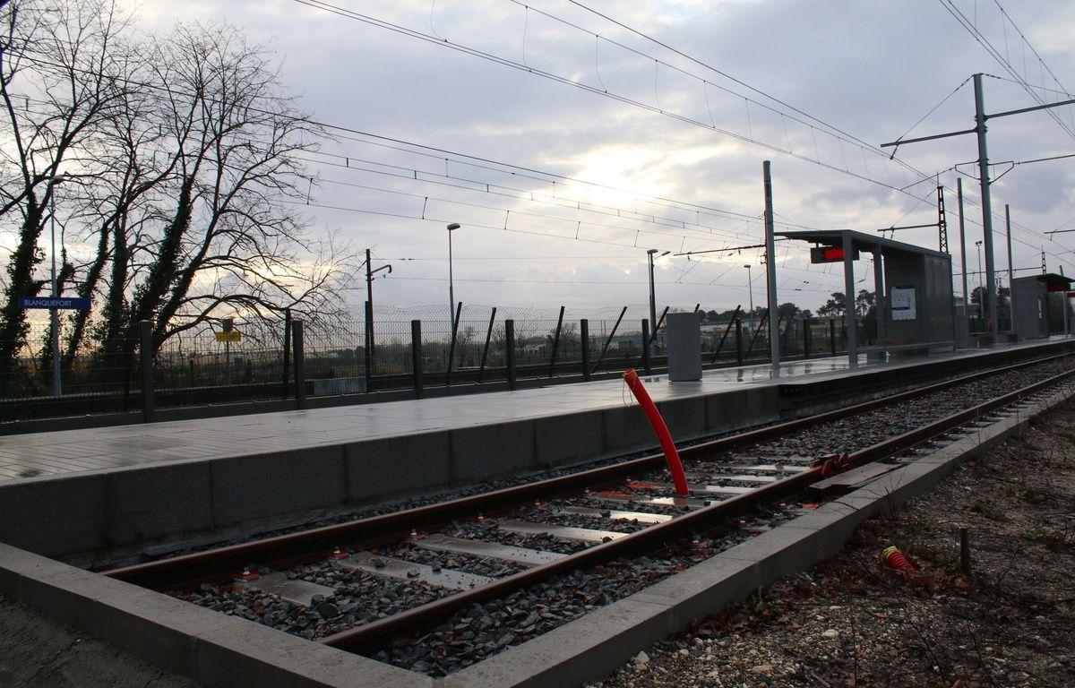 Le 10 février 2016, chantier de nouvelle branche de la ligne C du tramway, ici à son terminus Gare de Blanquefort –