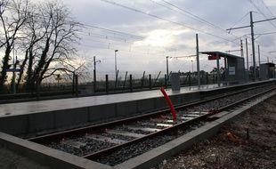 Le 10 février 2016, chantier de nouvelle branche de la ligne C du tramway, ici à son terminus Gare de Blanquefort