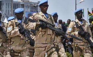 Des soldats de la Minusma (ONU) lors d'un défilé à Bamako en septembre 2018.