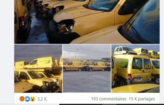 Les photos accompagnant le post Facebook viral sur les véhicules électriques de La Poste.