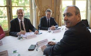 Laurent Berger, secrétaire général de la CFDT, rencontre le Premier ministre Jean Castex lors d'une réunion avec les partenaires sociaux, le 9 juillet 2020.