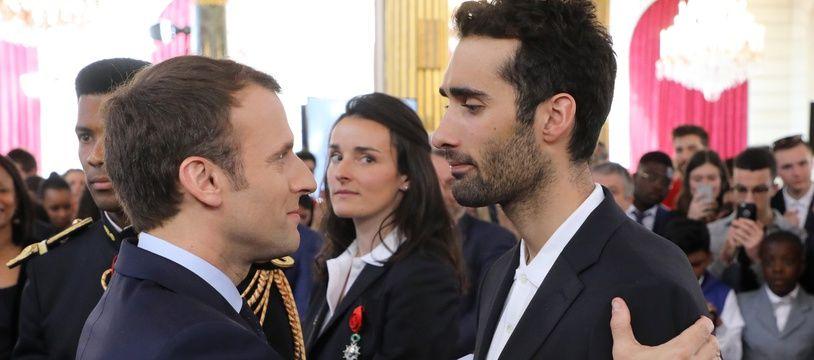 Martin Fourcade et Emmanuel Macron