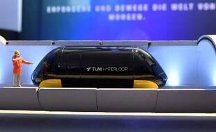 Illustration d'un modèle d'hyperloop, exposé à Munich.