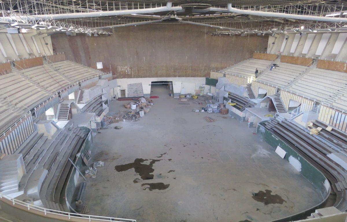 Bordeaux, le 10 mars 2015. Visite du palais des sports en pleine rénovation. Vue d'ensemble avant l'installation de la tribune escamotable. – Marc Nouaux / 20 Minutes