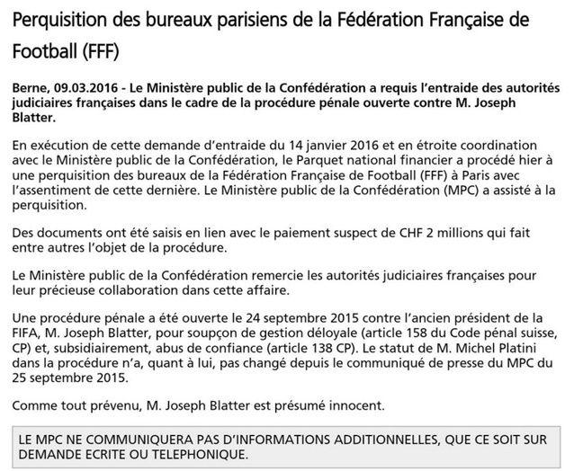 Le communiqué du ministère public suisse.