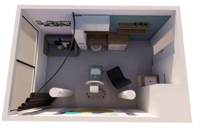 Vue 3D de la chambre de réanimation