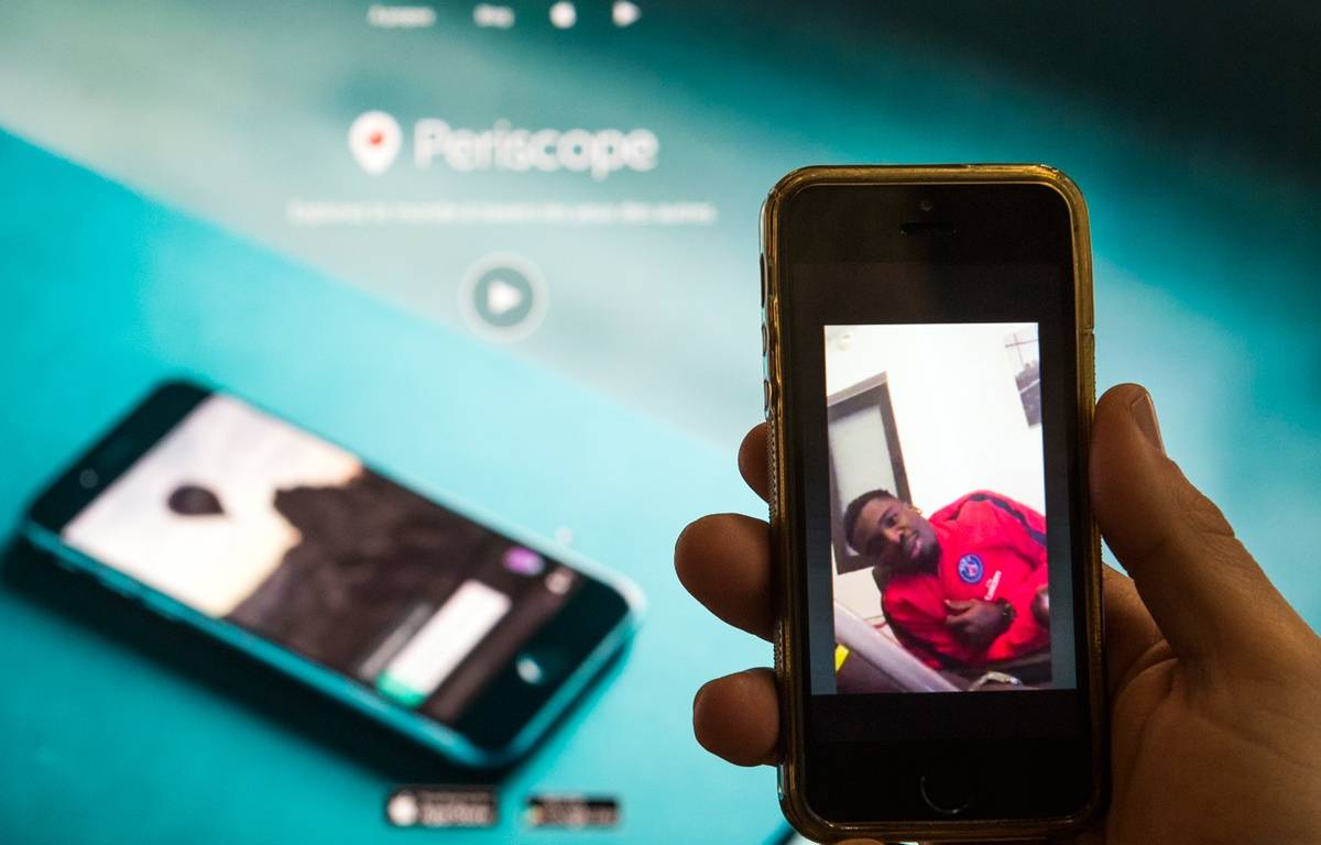 Serge Aurier dans la fameuse vidéo Periscope, le 15 février 2016. – LIONEL BONAVENTURE / AFP