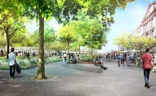 L'allée Brancas après le réaménagement urbain du secteur Commerce-Feydeau.