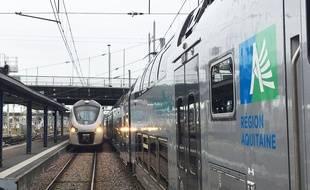Trains TER de la région Nouvelle-Aquitaine, en garde de Bordeaux.