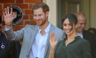 Sussex, le 3 octobre 2018. Visite du prince Harry et Meghan, duchesse du Sussex.