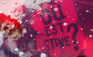 Affiche utilisée lors d'un rassemblement à Nantes, dans une fontaine dont l'eau a été colorée en rouge