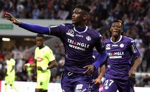 Yaya Sanogo, auteur du premier but du TFC contre Angers (2-0) en Ligue 1, le 21 avril 2018 au Stadium de Toulouse.