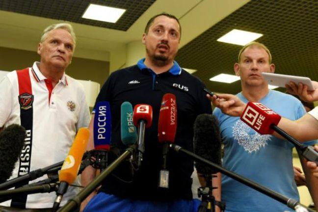 Le leader du groupe des supporters russes Alexandre Chpryguine, à Moscou le 18 juin 2016 après son expulsion de France