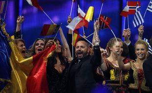 Des candidats du concours Eurovision de la chanson en 2014, à Copenhague (Danemark).