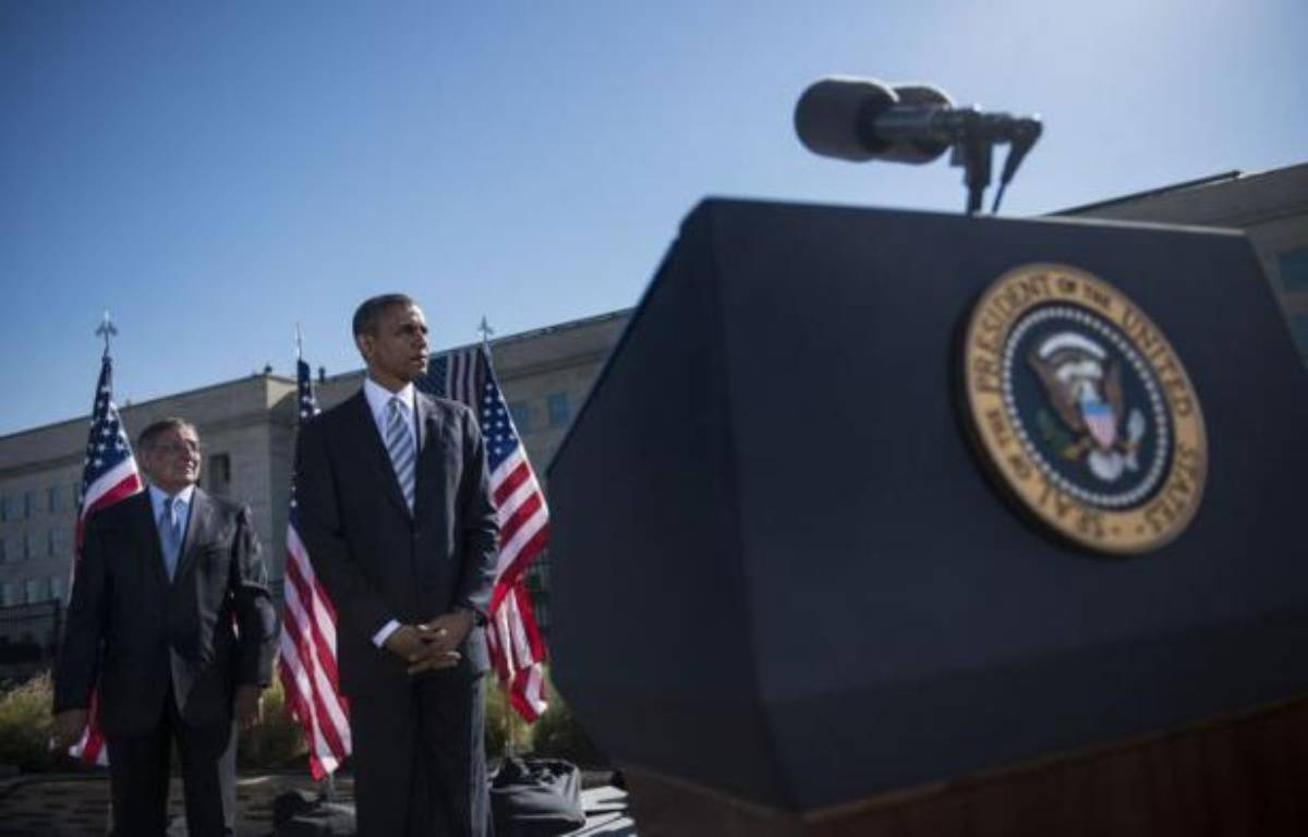 Le président des Etats-Unis Barack Obama a salué mardi une Amérique plus forte et plus unie, alors que le pays célébrait sobrement le 11e anniversaire des attentats du 11-Septembre, témoignant d'un certain apaisement au fil des ans. – Brendan Smialowski afp.com
