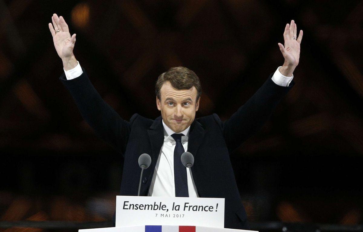 Emmanuel Macron, lors de son discours de victoire sur l'esplanade du Louvre à Paris, le 7 mai 2017.  – Thibault Camus/AP/SIPA