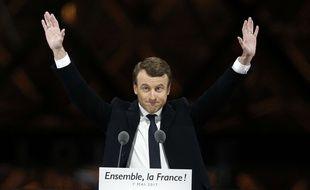 Emmanuel Macron, lors de son discours de victoire sur l'esplanade du Louvre à Paris, le 7 mai 2017.