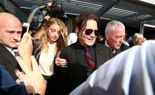 Amber Heard et Johnny Depp en Australie en avril 2016