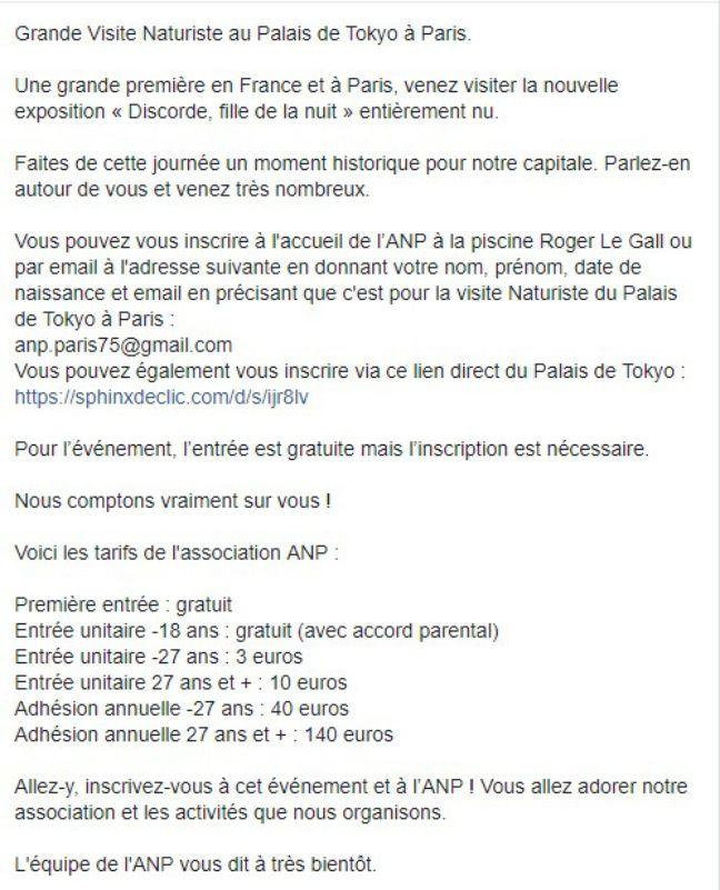 Le texte de l'événement Facebook de la visite.