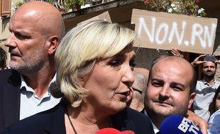 Marine Le Pen et David Rachline lors d'un déplacement dans le Var
