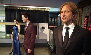 Les statues de cire d'Angelina Jolie, Robert Pattinson et Brad Pitt chez Madame Tussauds à Londres.