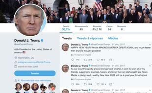 Capture d'écran du compte Twitter officiel du président américain Donald Trump le 1er janvier 2018.