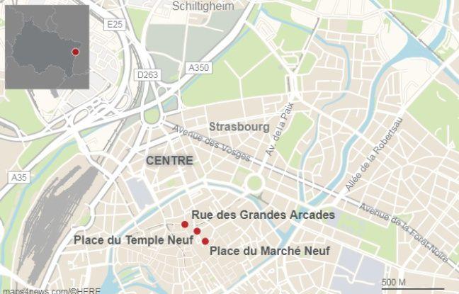 Les trois secteurs visés par l'arrêté anti-mendicité à Strasbourg.