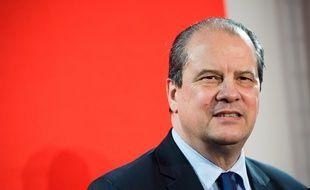 Jean-Christophe Cambadélis, premier secrétaire du Parti socialiste, le 6 février 2016 à Paris lors d'une conférence de presse.