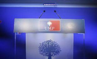Un pupitre au siège de l'UMP à Paris
