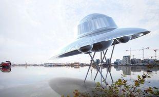 L'artiste Suzanne Treister a imaginé une oeuvre en forme de navette spatiale qui sera installée au ras de l'eau aux Bassins à flot.